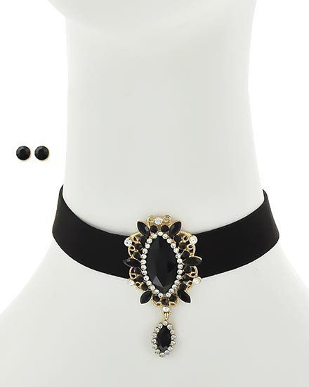 Trendy Black Gold Choker Necklace & Earring Set