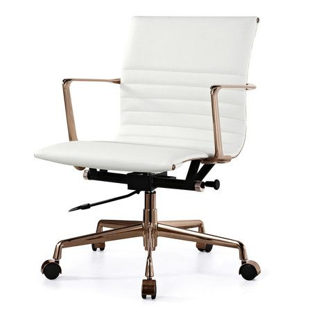 White Italian Leather + Gold M346 Modern Office Chairs