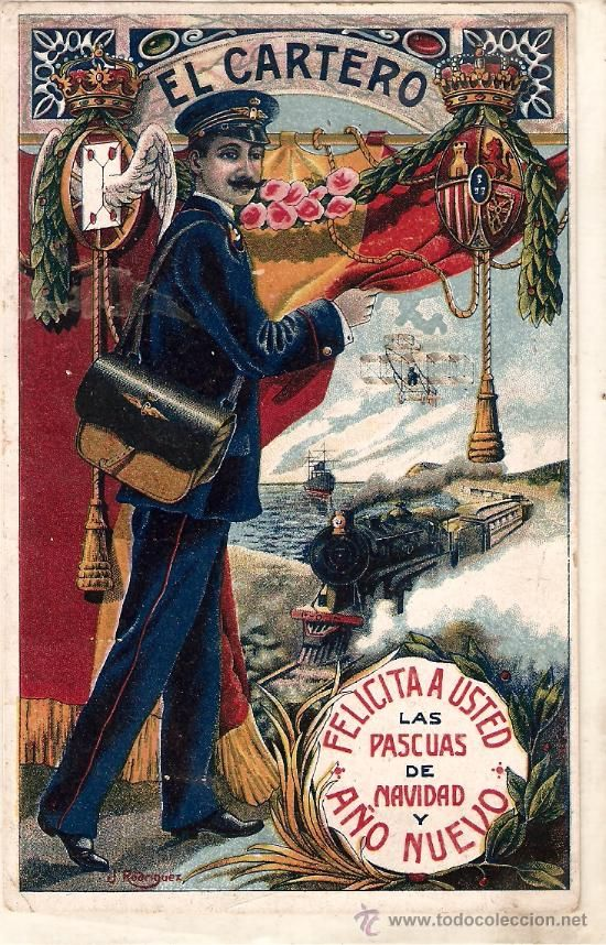 Felicitación Original de Cartero en Navidad. Época Alfonso XIII / Navidad en todocoleccion
