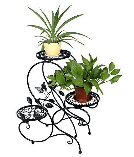 Stand-Plant-Pot-Garden-and-Home-3-tier-Classic-Modern-S-Design-Black-New