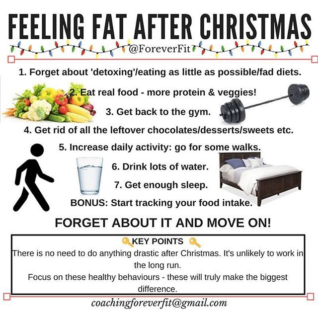 WHAT TO DO IF YOU FEEL FAT AFTER CHRISTMAS  The most important tip is to stop looking for something drastic to do. A lot of it doesn't even work (detox teas...) so forget about it and don't waste your money.  Most people overlook the simple solution because they think it won't work, when really these tips are what will make the BIGGEST DIFFERENCE.  Implement them all. Get back to the gym. Eat your protein and veg. Get rid of temptations still lying around if you don't really want them…
