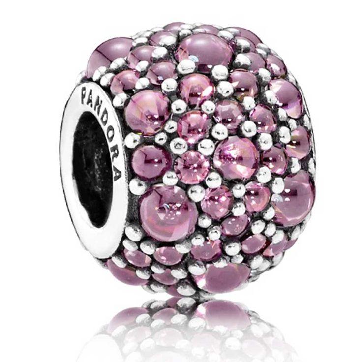 Pandora Oriental Bloom Honeysuckle Pink Shimmering Droplets Sterling Silver Charm 791755HCZ