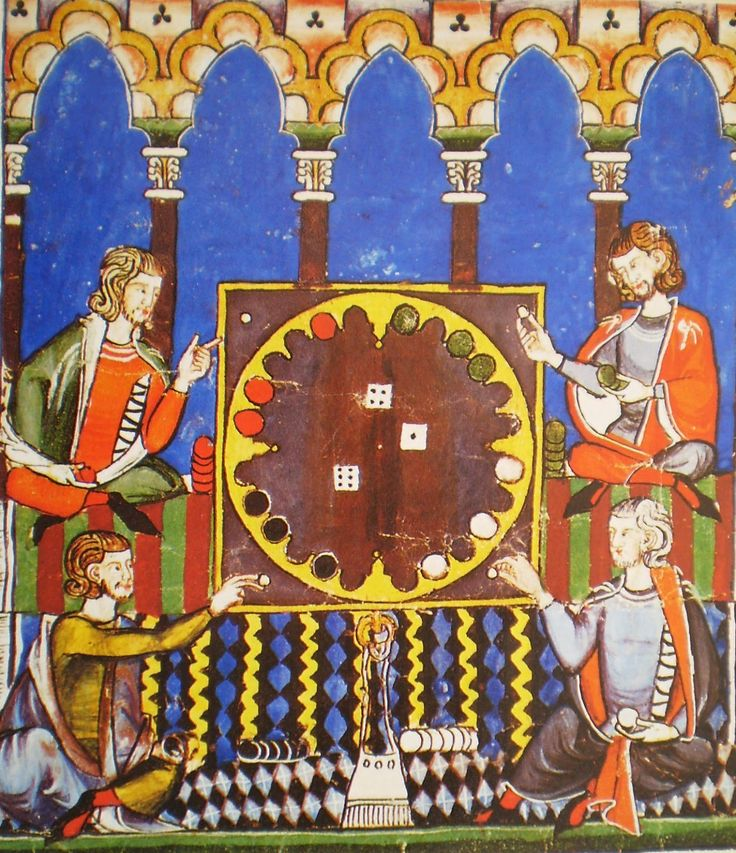 Средневековые настольные игры: шахматы, кости, триктрак, карты.