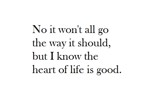 no it won't all go the way it should, but i know the heart of life is good. - john mayer, heart of life