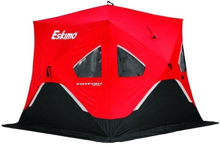 Portable Eskimo Ice Fishing Shelter Tent Removable windows 80 x 99 Red #Eskimo