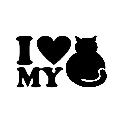 Love My Cat Die Cut Vinyl Decal PV524 for Windows, Vehicle Windows, Vehicle Body Surfaces or just about any surface that is smooth & clean