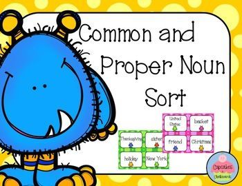 This is a hands on activity for students to practice sorting common and proper nouns. An answer key is provided along with a student recording sheet. This product includes: One set with proper nouns capitalized. One set with the same proper nouns NOT capitalized. **Each set includes a color