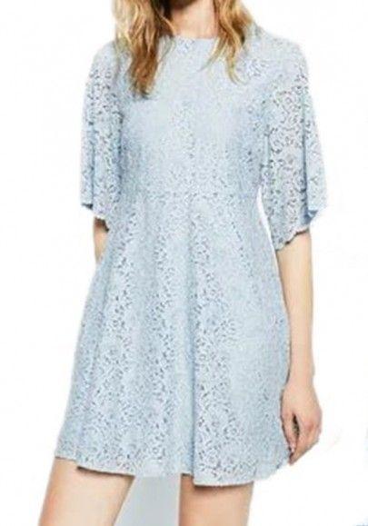 Azul cremallera del remiendo del cordón de la llamarada de la manga drapeado patinador mini vestido