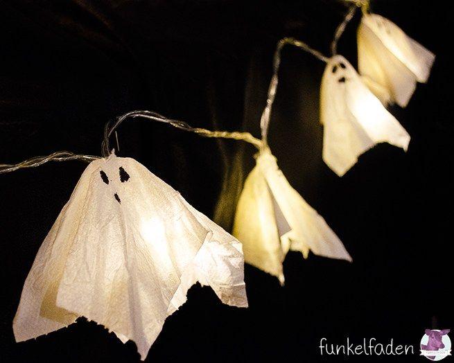 Halloween Deko Ideen zum selbermachen - Lichterkette mit Gespenstern