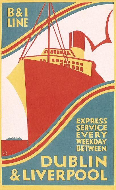 Old poster for the B & I Shipping express service every weekday between Dublin and Liverpool.