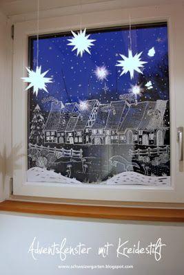 Kreidestift, flüssig, Kreidemarker, edding, Motiv, Fensterdeko, Fenster bemalen, Weihnachtsdorf, Strichzeichnung, Herrnhuter Stern, Mini-Sterne, beleuchtet, Adventsfenster,
