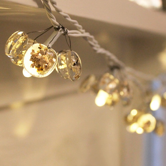 Christmas glass fairy lights with gold sprinkles by redbrickglass, £40.00