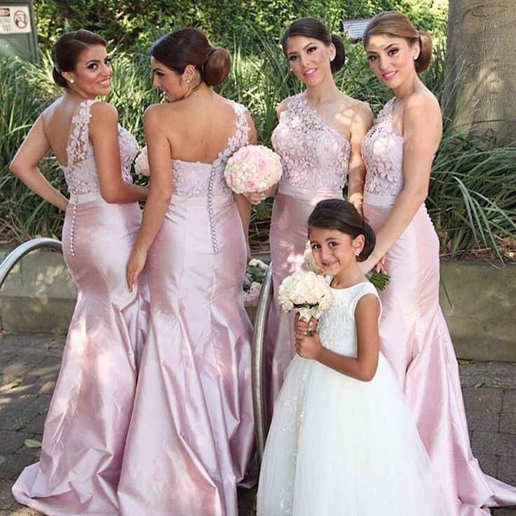 Long Bridesmaid Dress, Satin Bridesmaid Dress, One-Shoulder Bridesmaid Dress, Dress for Wedding, Applique Bridesmaid Dress, Lace Bridesmaid Dress, LB0244