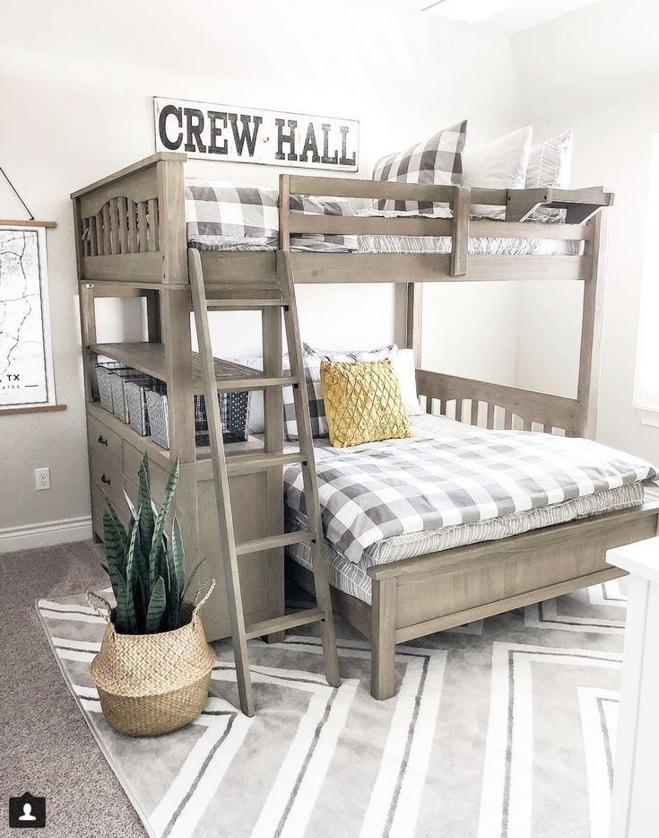 Our Faux Farmhouse Bunk Bed Rooms Shared Bedrooms Bunk Beds Boys