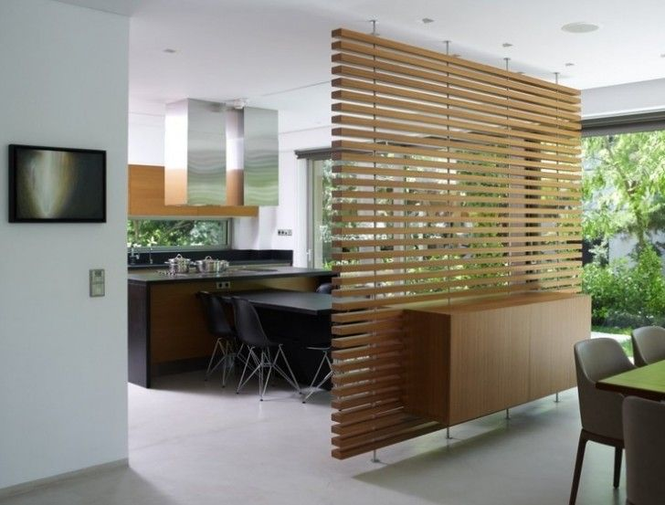 Interior Design, Brown Yellowish Cabinet Hanging Wooden Room Divider Black Dinning Table Dinning Chair Kitchen Island Porcelain Floor And Glass Wall ~ Attractive Room Divider Design: Way to Part Your Small Room Interior