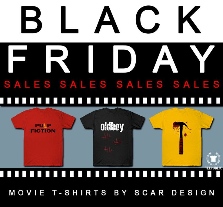 Get ready for Black Friday Sale!!! Starts today at 4pm! Movie T-Shirts by Scar Design. #blackfriday #sales #save #discount #cinema #movie #tshirts #movietshirt    #oldboymovietshirt #pulpfictiontshirt #giftsforhim #giftsforher #fashion #style #39 #family #xmas #xmasgifts #christmas #christmasgifts #teepublic #gifts #uniquegifts