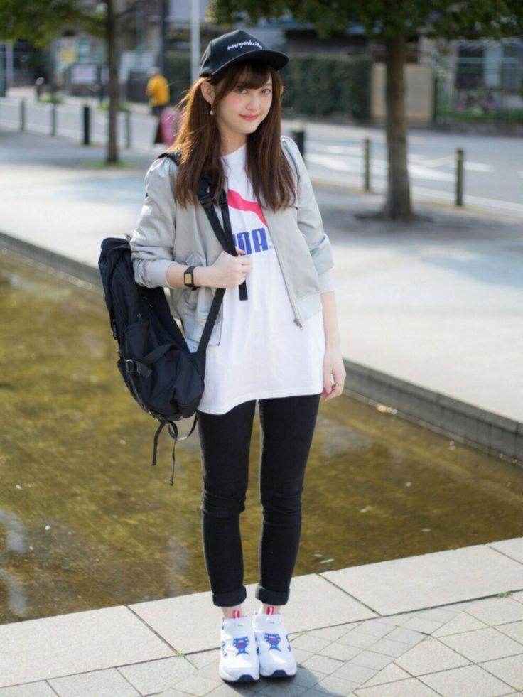 グレーブルゾンのスポーティなコーデ☆クールなブルゾンコーデ☆スタイル・ファッションの参考に♡