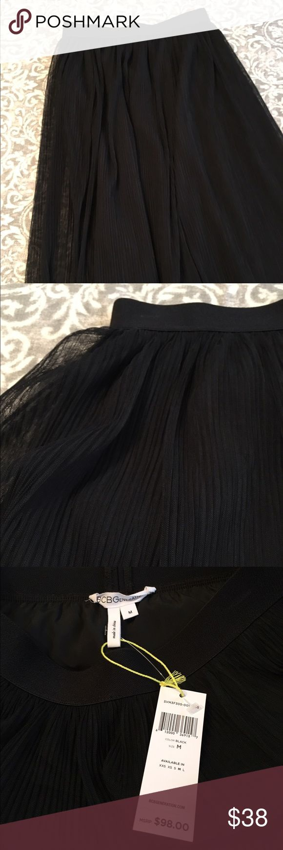 Tulle Skirt BCBGeneration Black tulle skirt. Pull on style with elastic waist. BCBGeneration Skirts