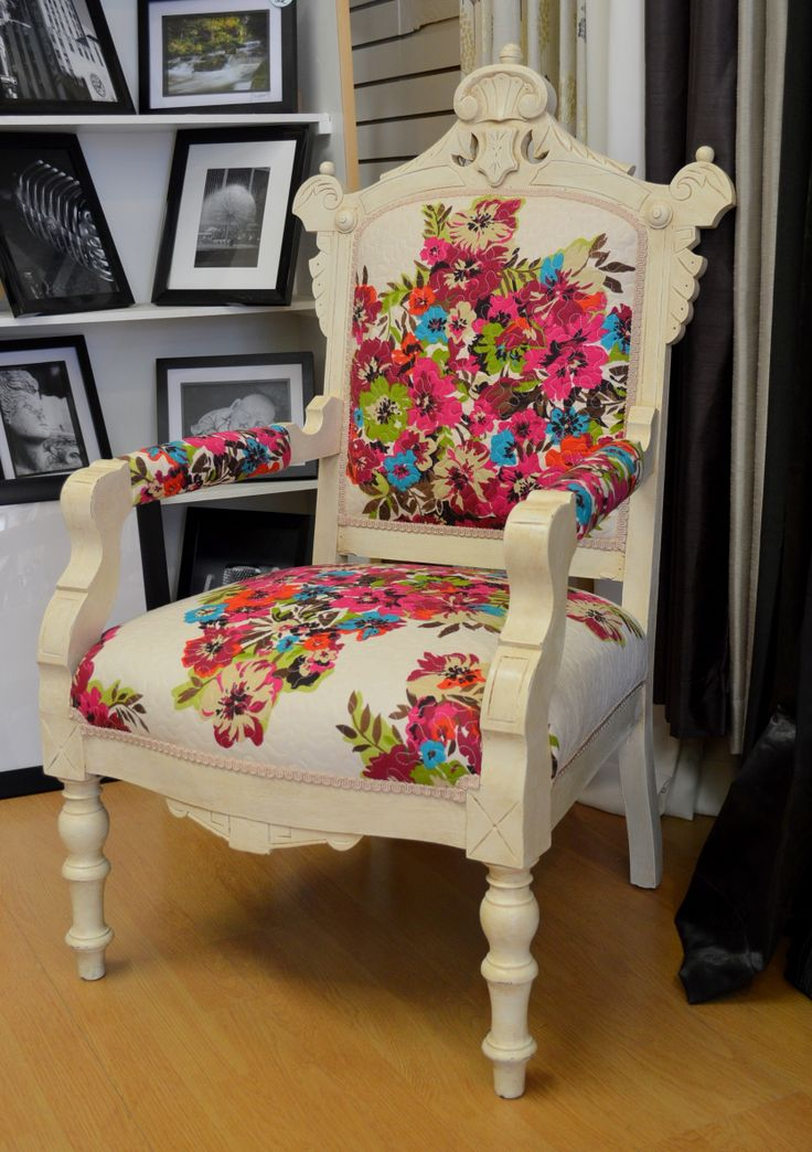 HvR ONE ~ Recycled Designs. Eastlake chair with quilt fabric. for sale