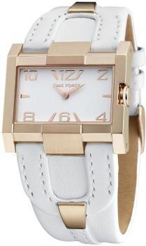 $171 Reloj mujer Time Force caja acero esfera cuadrado dorada correa piel blanca