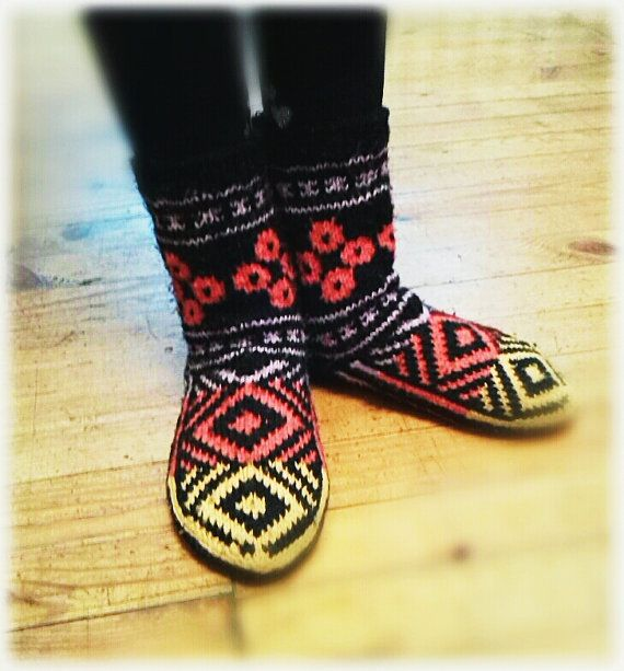Warm Colored Children's Socks by WarmandCozyKnits on Etsy
