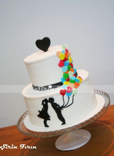 nişan pastası, silhouette cake, silüet pasta, engagement cake