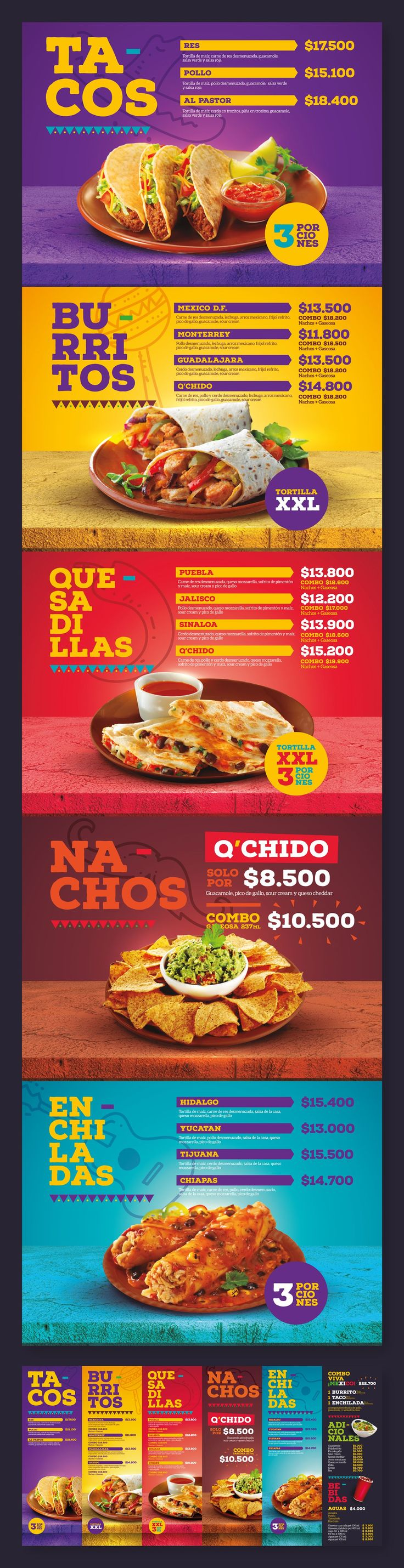 Menu Design / Q'Chido Mexican Food http://jrstudioweb.com/diseno-grafico/diseno-de-logotipos/