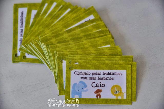 Cartões para lembrancinha - Safari  : flavoli.net - Papelaria Personalizada :: Contato: (21) 98-836-0113 vendas@flavoli.net