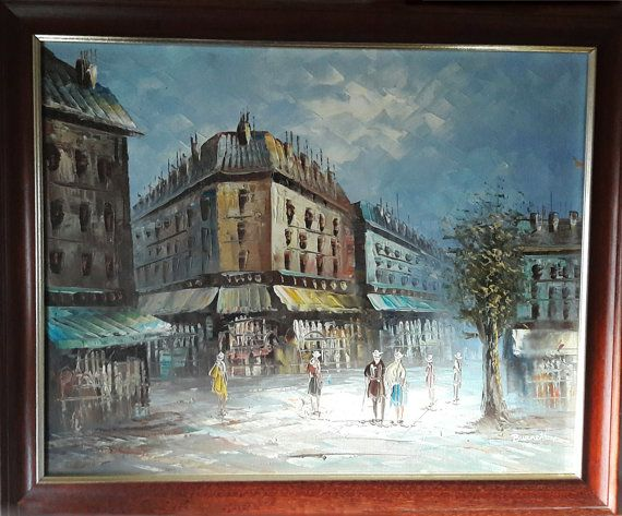 Lovely Kitsch Original Framed Oil Painting on Canvas by RAVERETRO