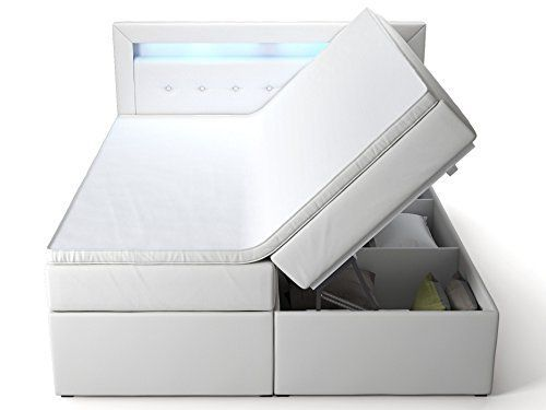 Produktbild (1) Boxspringbett mit Bettkasten weiß Delia2 LED Beleuchtung Doppelbett Hotelbett Topper (180x200cm)
