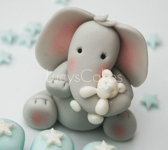 *SUGAR ART ~ Elephant cake topper christening or 1st birthday by Lucyscakesandtoppers.co.uk
