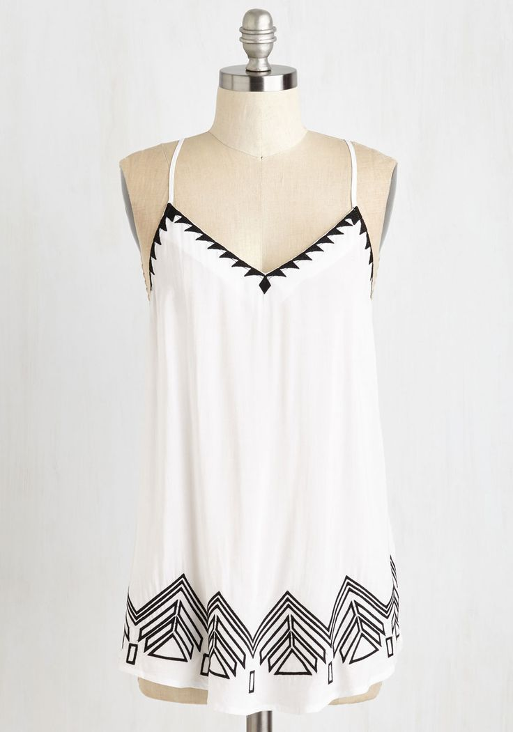 Sensationally Sharp Top. All signs of stylish point to you, especially when youre clad in this peak trimmed tank! #white #modcloth