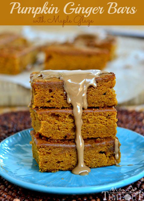 These Pumpkin Ginger Bars are packed with fabulous, vibrant flavors and topped with a sweet maple glaze!  | MomOnTimeout.com. #pumpkinrecipe #pumpkin #thanksgiving #maple