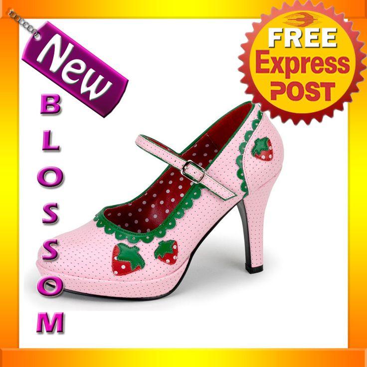 S13-Ladies-Strawberry-Shortcake-Shoes-Heels-Fancy-Dress-Costume-Footwear