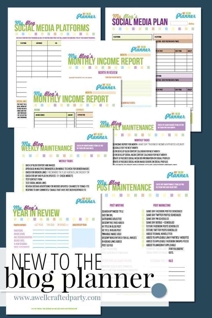 Free Printable Blog Planner 2016 Edition for A Well Crafted Party Newsletter Subscribers