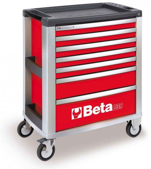 Cassettiera mobile BETA C39-7 con 7 cassetti rossa vuota