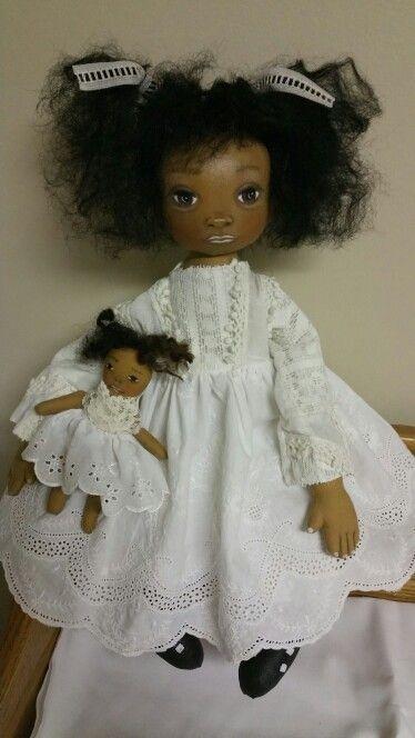 "Painted cloth black doll/15""/swivel head"
