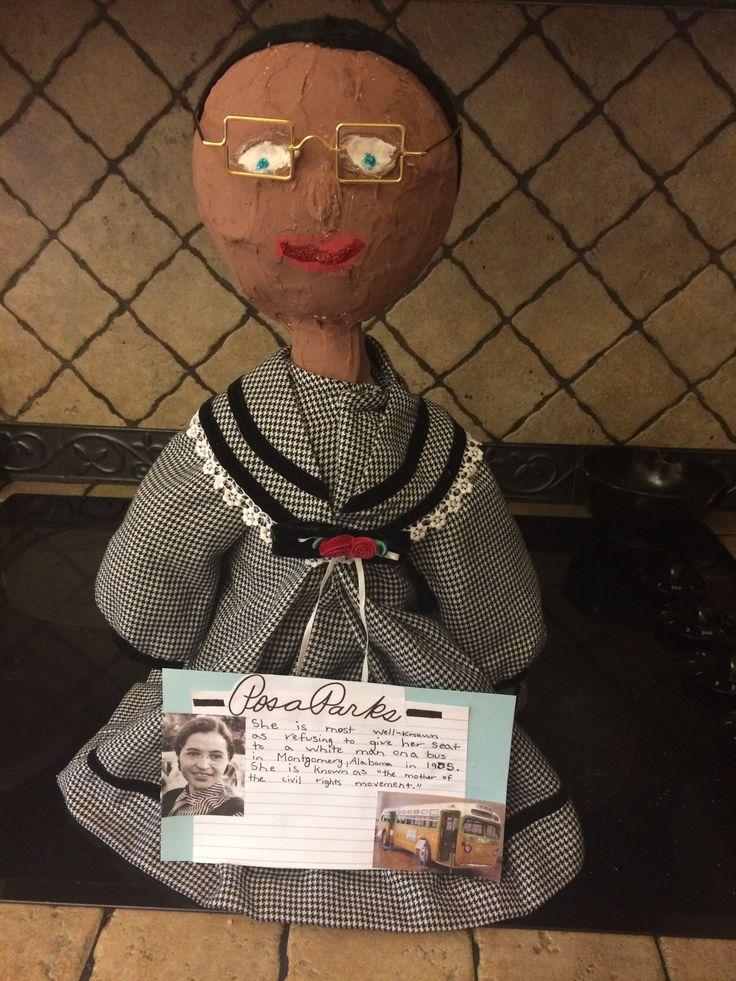 Rosa Parks - bottle person - 3rd grade - paper mâché and a 2 liter bottle