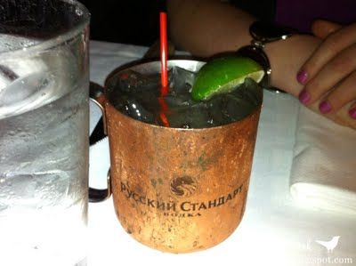 """Moscow Mule:  """"A cocktail made with vodka, ginger beer, and lime, served in a copper mug. It was popular during the vodka craze in the 1950s and it's name refers to the perception of vodka as a Russian product."""""""