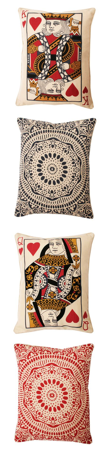 King and Queen of Hearts card pillows // awesome idea for the master bedroom