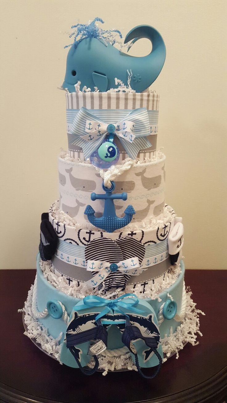 Nautical diaper cake! Teal and grey whale baby shower centerpiece gift. Visit my Facebook page Simply Showers for more pics and orders. Created by Kim Swinson-Simply Showers