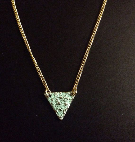 Green triangle choker necklace  on Etsy, £5.00