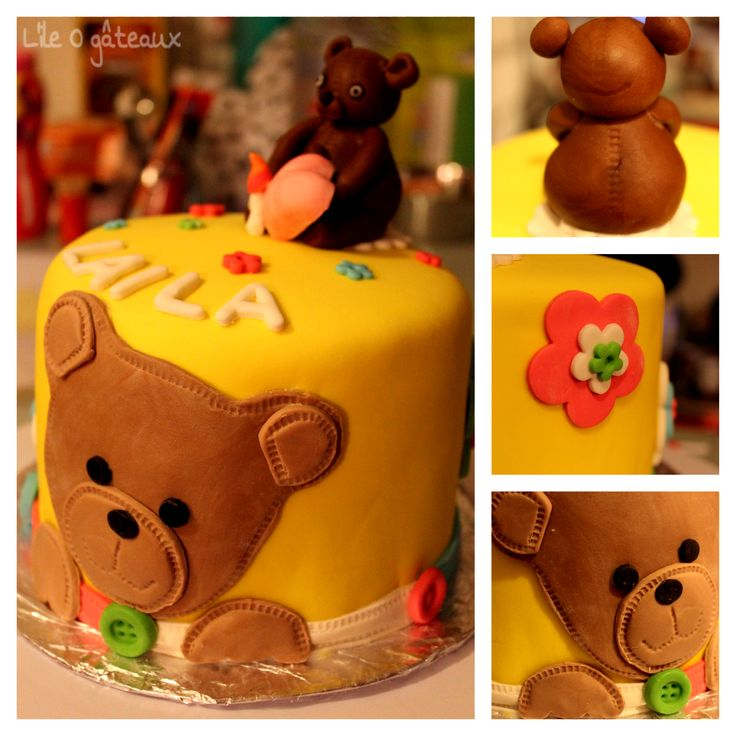 Teddy Bear cake for a Baby Girl by me  (L'ile O gâteaux)