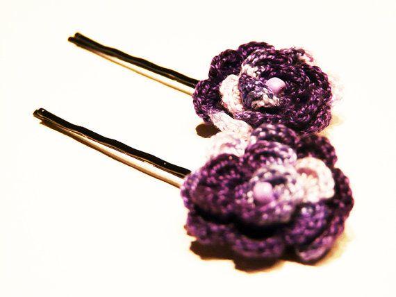 Crocheted bobby pin Eggplant charming hair pin by myRainbowWorld, $9 ...