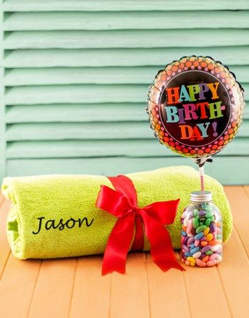 Personalised Green Towel with Birthday Balloon