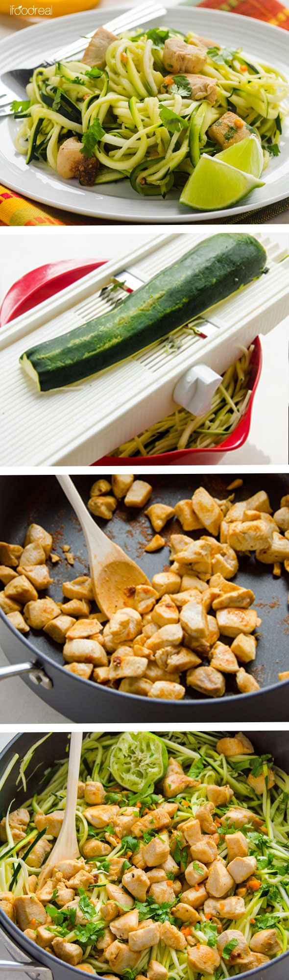 Zucchini Noodles with Cilantro Lime Chicken is delicious 20 minute healthy and gluten free dinner idea. If you dont have a spiralizer just chop the zucchini.  ifoodreal.com
