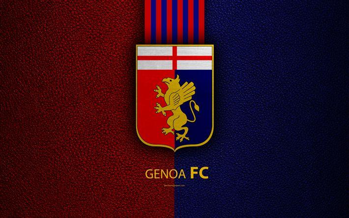 Download wallpapers Genoa FC, 4K, Italian football club, Serie A, emblem, logo, leather texture, Genoa, Italy, Italian Football Championships