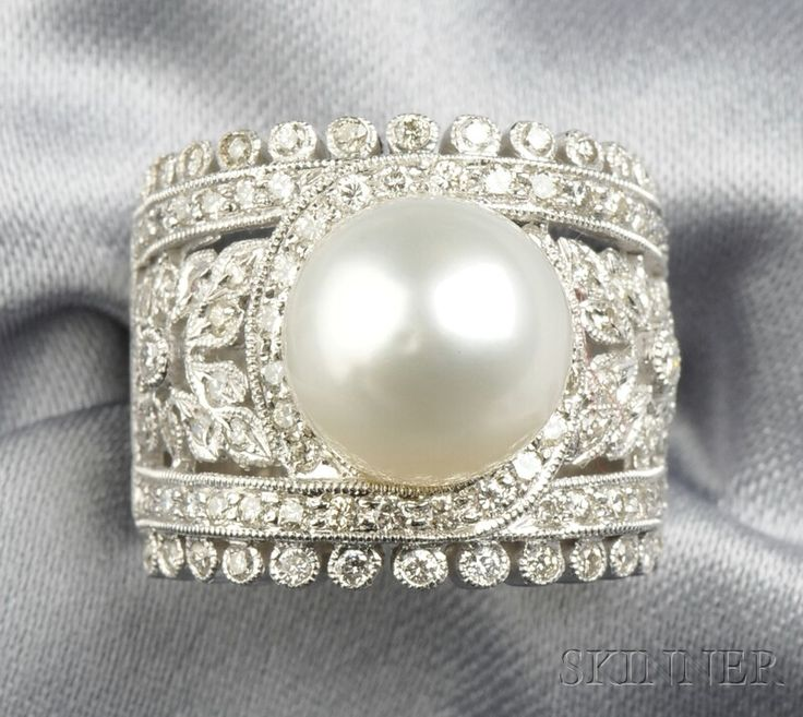 White Gold, Cultured Pearl, and Diamond Ring