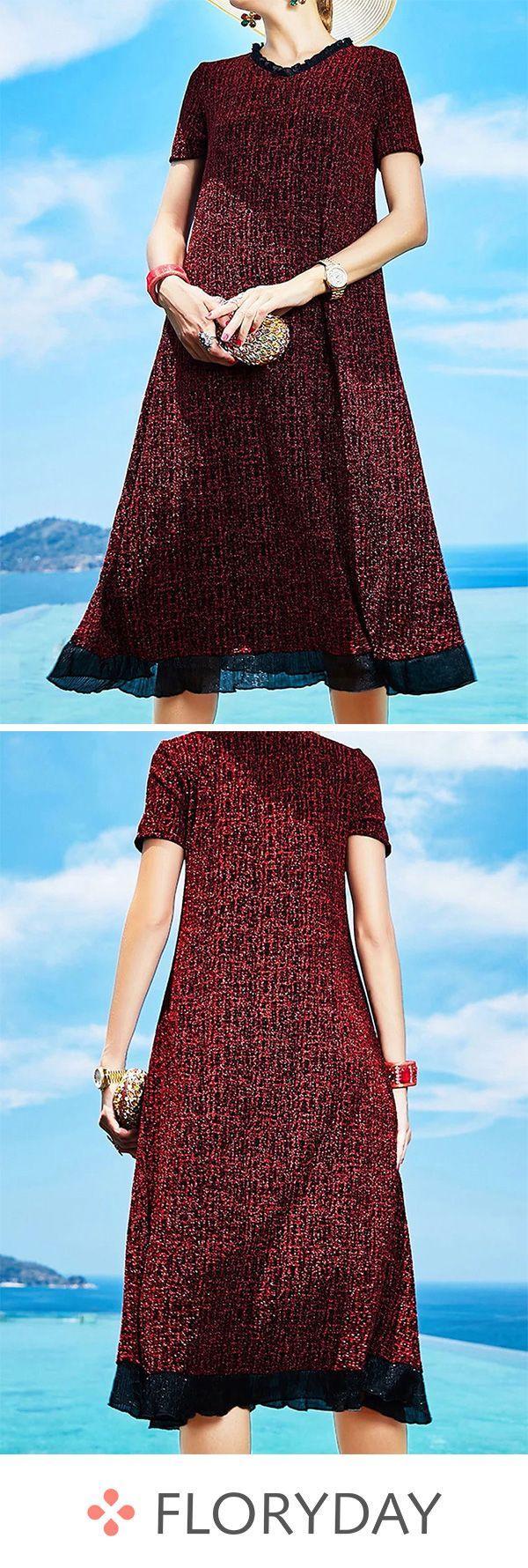Block color round neckline short sleeve dress   Block Color ...