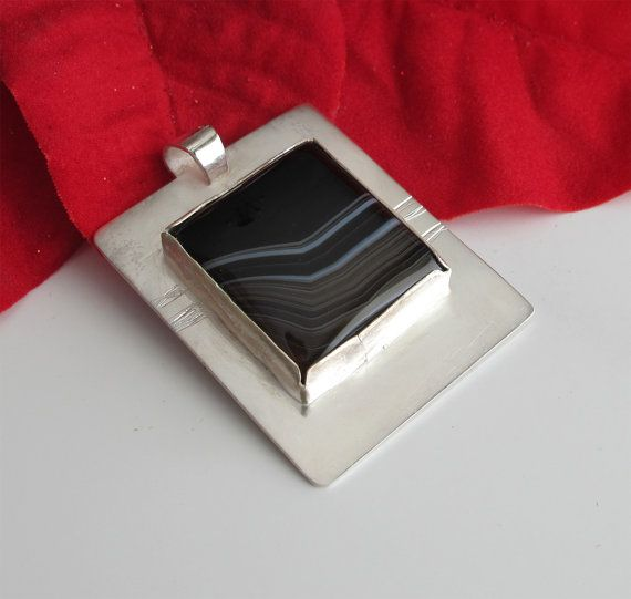 Pendant: Striped Black Onyx on Sterling Silver